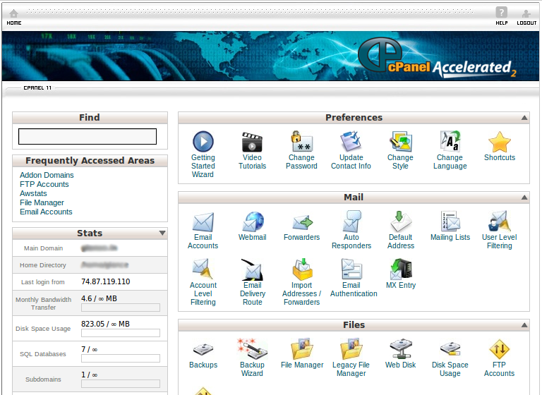 control panel hosting pesonaweb