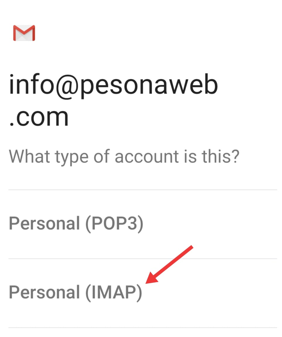 setting imap di hp android